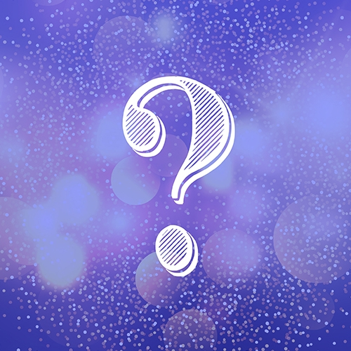 Question mark on festive purple background